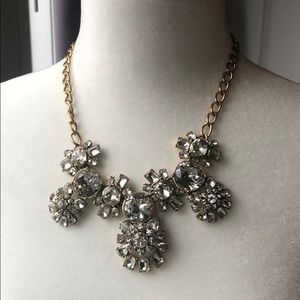 J Crew Rhinestone Jewel gold tone bib necklace